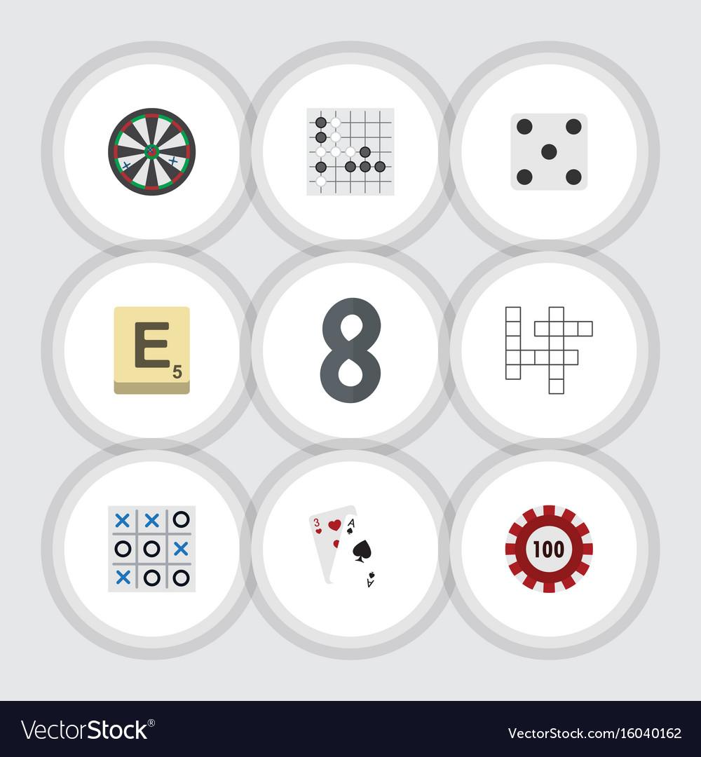 Flat icon entertainment set of poker mahjong vector image