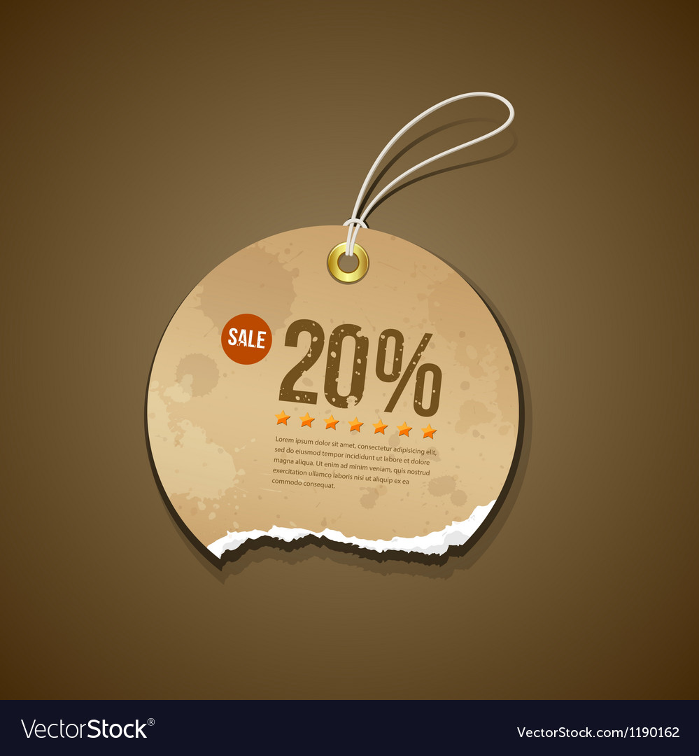 Vintage Ripped brown label circle sale vector image