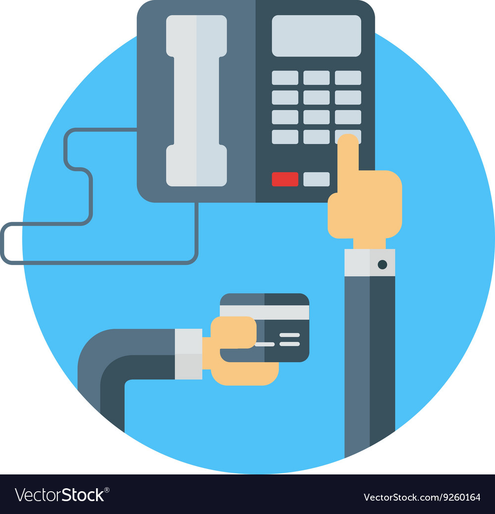 Dialing number on phone and holding bank card vector image