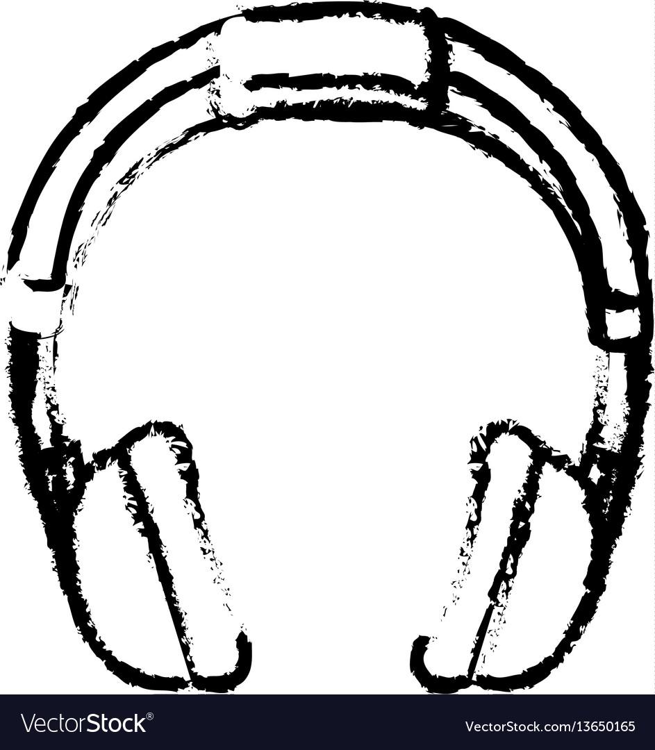Headphone music device icon vector image