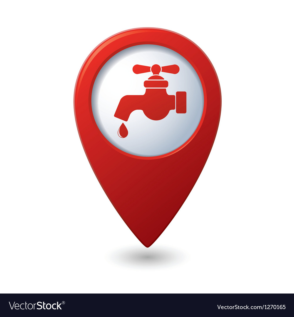 Map pointer with water tap icon vector image
