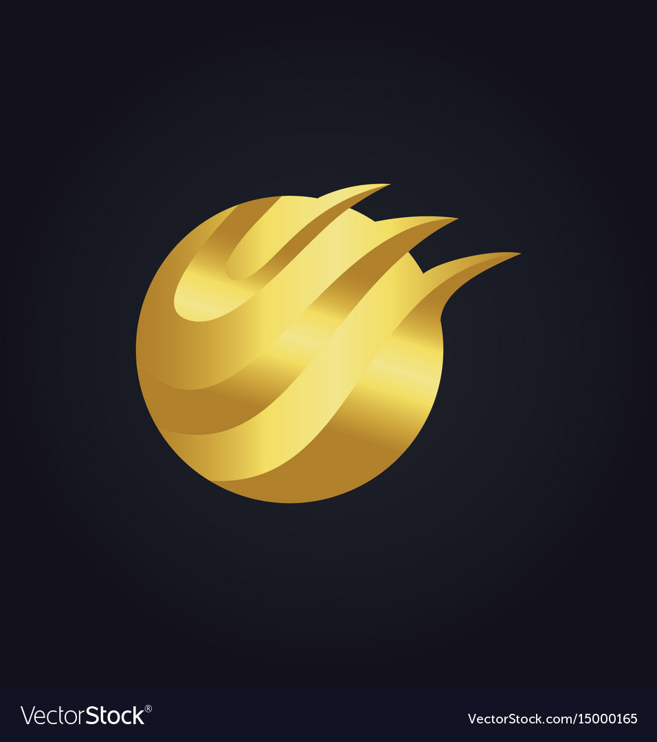 Round abstract wave technology gold logo vector image