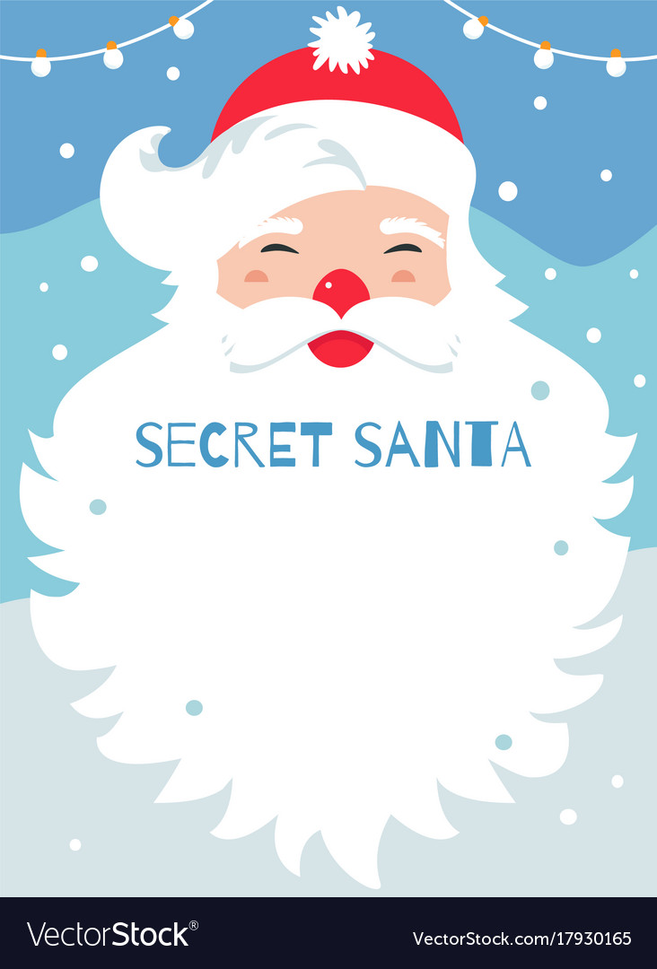 Secret santa present exchange game poster vector image for Secret santa email template