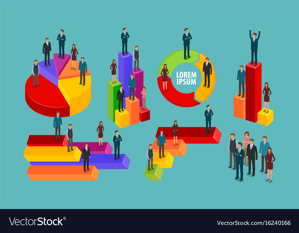 Business infographic chart graph people vector image