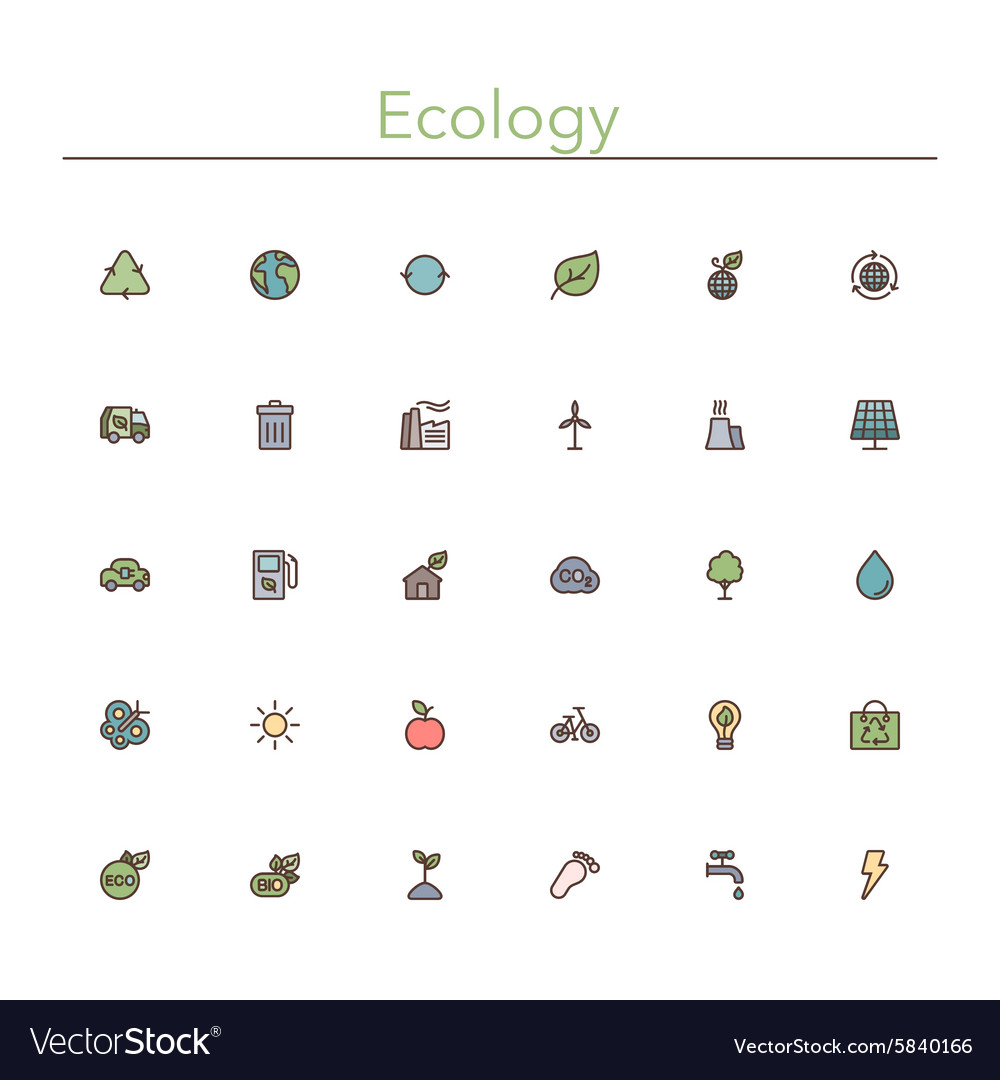 Ecology Colored Line Icons vector image