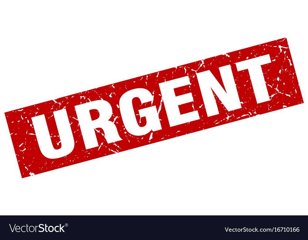 Square grunge red urgent stamp vector image