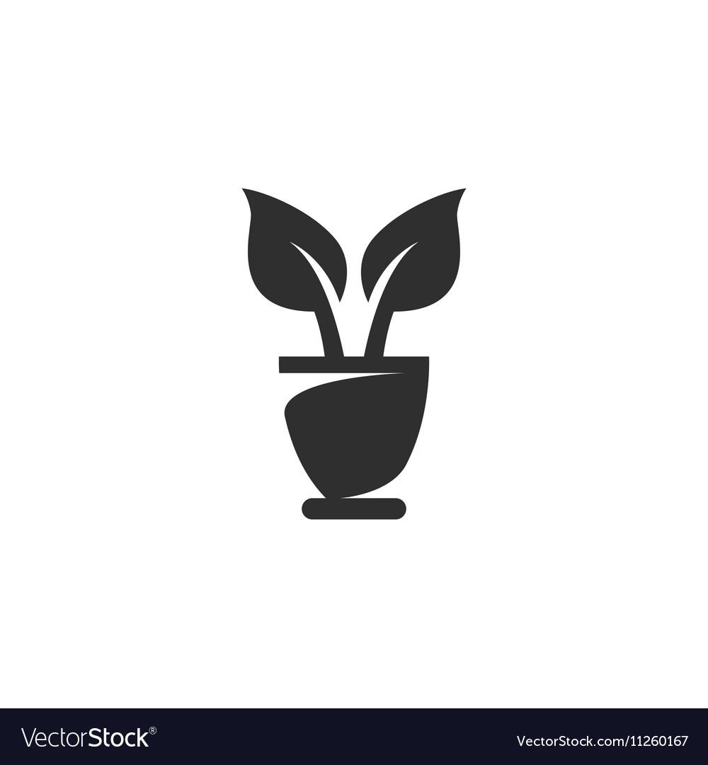 Flowerpot Icon logo on white background vector image