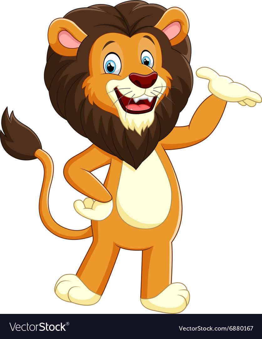 Happy carton lion posing vector image