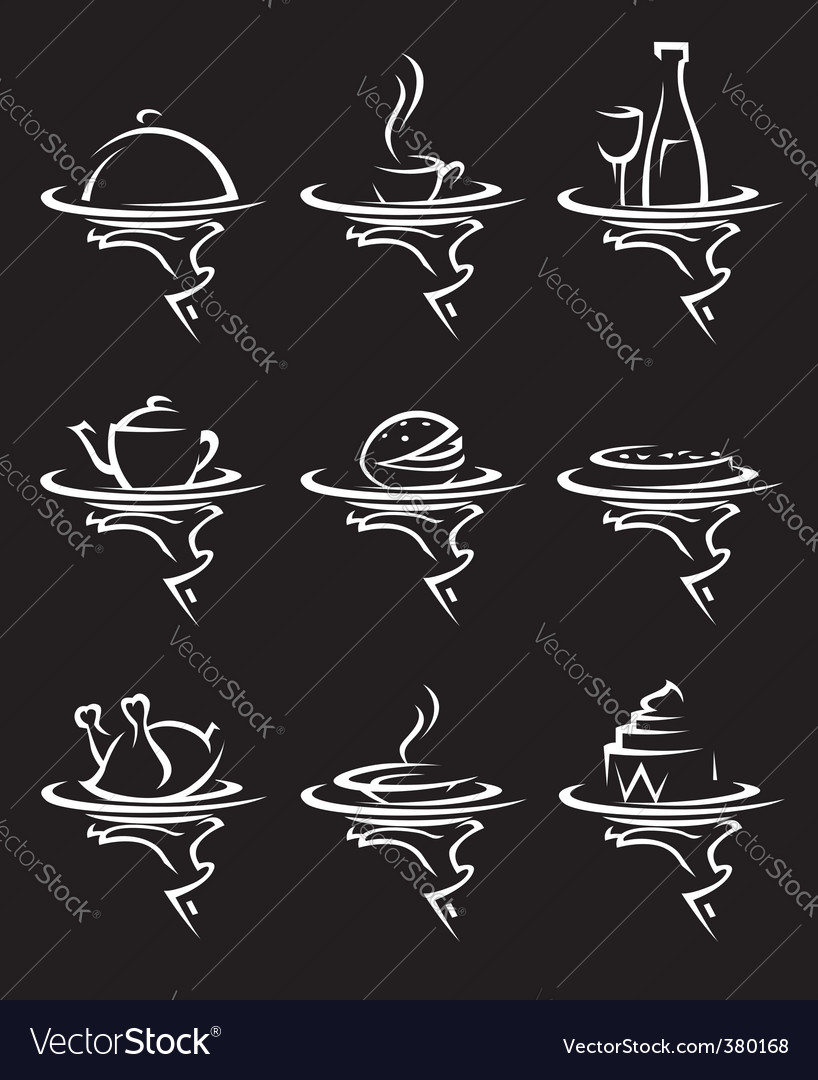 Restaurants icon set vector image