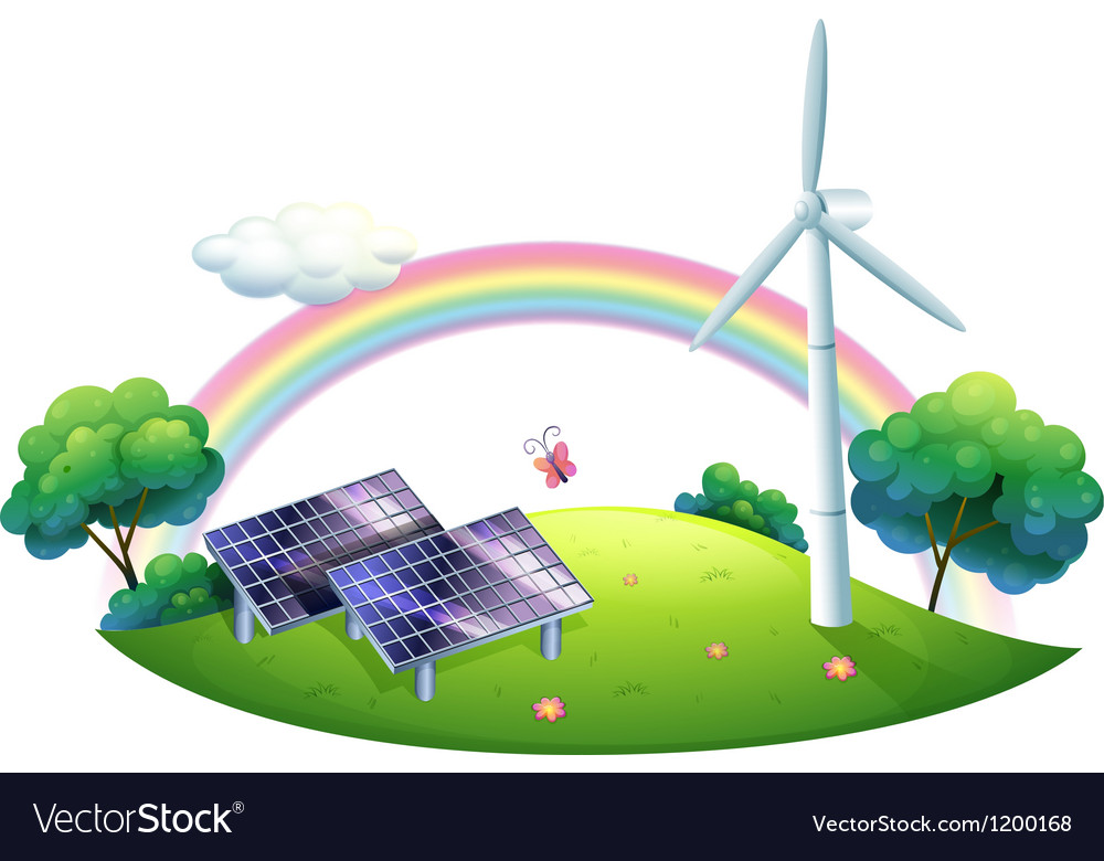 A solar energy and a windmill vector image