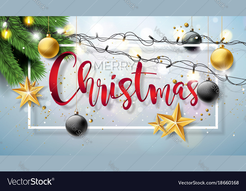 Merry christmas on shiny vector image