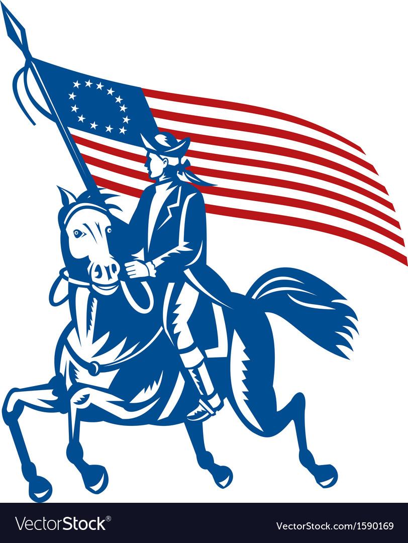 American revolutionary general riding horse Betsy vector image