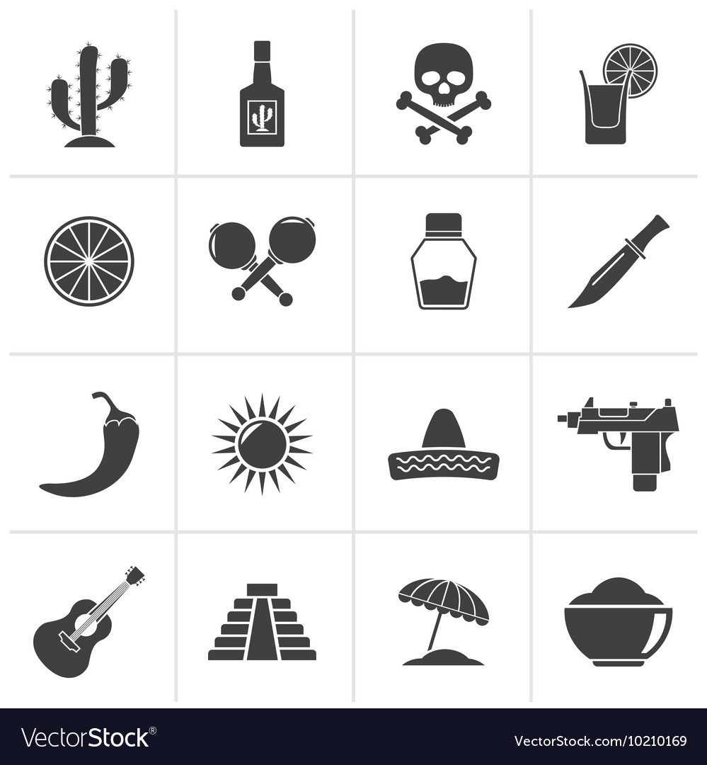 Black Mexico and Mexican culture icons vector image