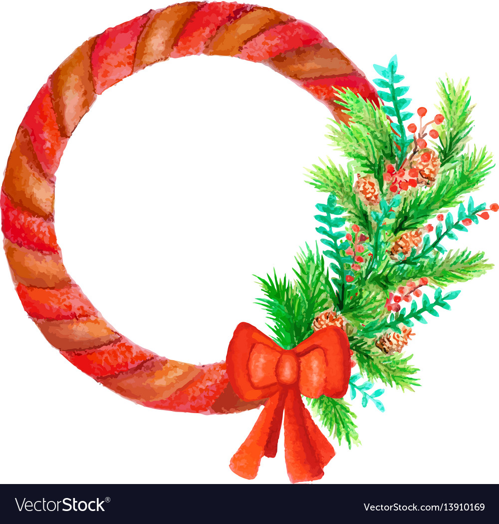 Watercolor round frame with red bow and fir-tree vector image