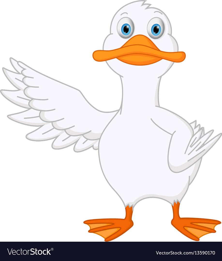 Cute duck cartoon presenting vector image