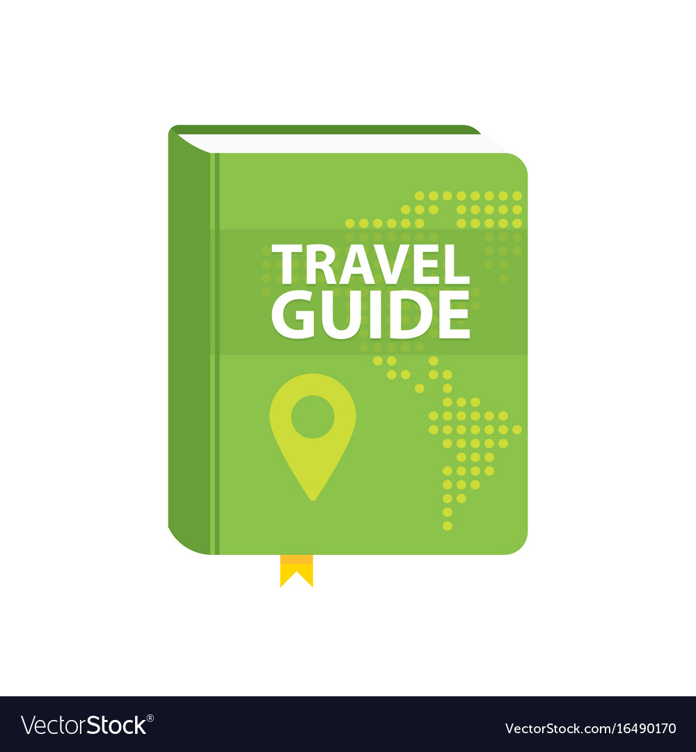 Guide Book: Travel Guide Book Icon World Map And Pin In Cover Vector Image