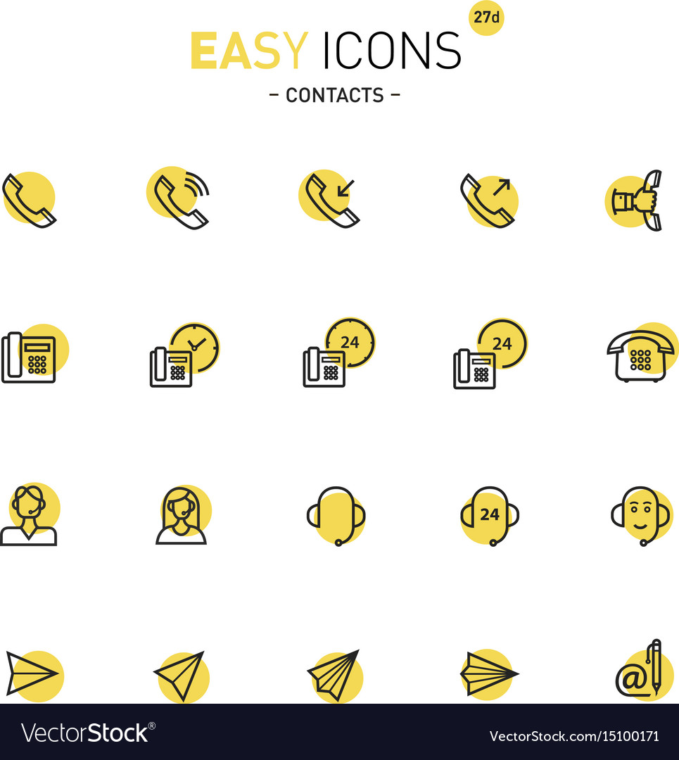 Easy icons 27d contacts vector image
