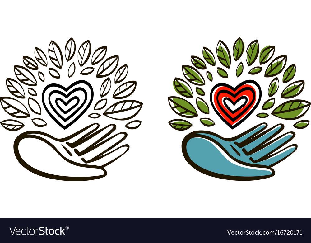 Organic natural product logo ecology vector image