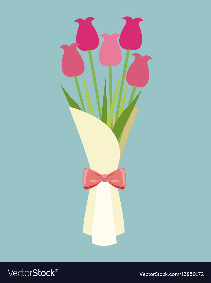 Cute bouquet flowers roses-mother day vector image