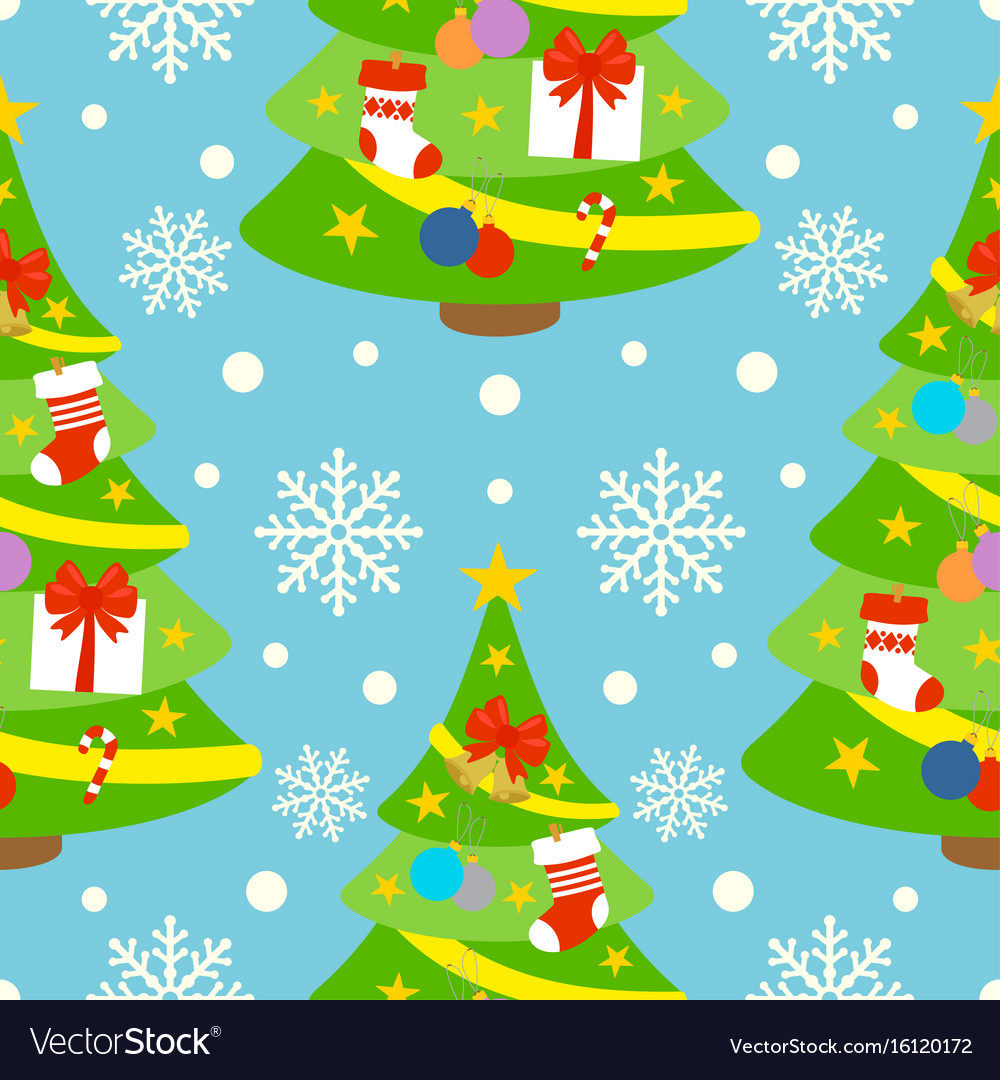 New year seamless background card with fir-tree vector image