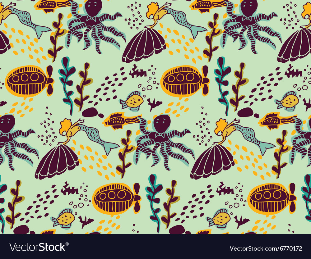 Underwater sea life animal color seamless pattern vector image