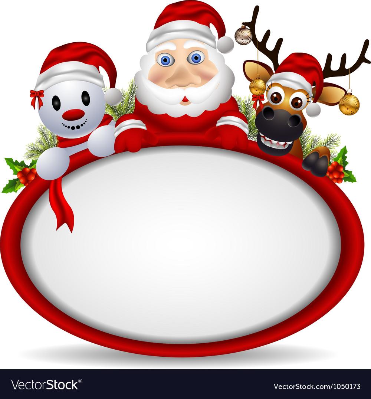 santa claus deer and snowman vector image - Santa And Snowman