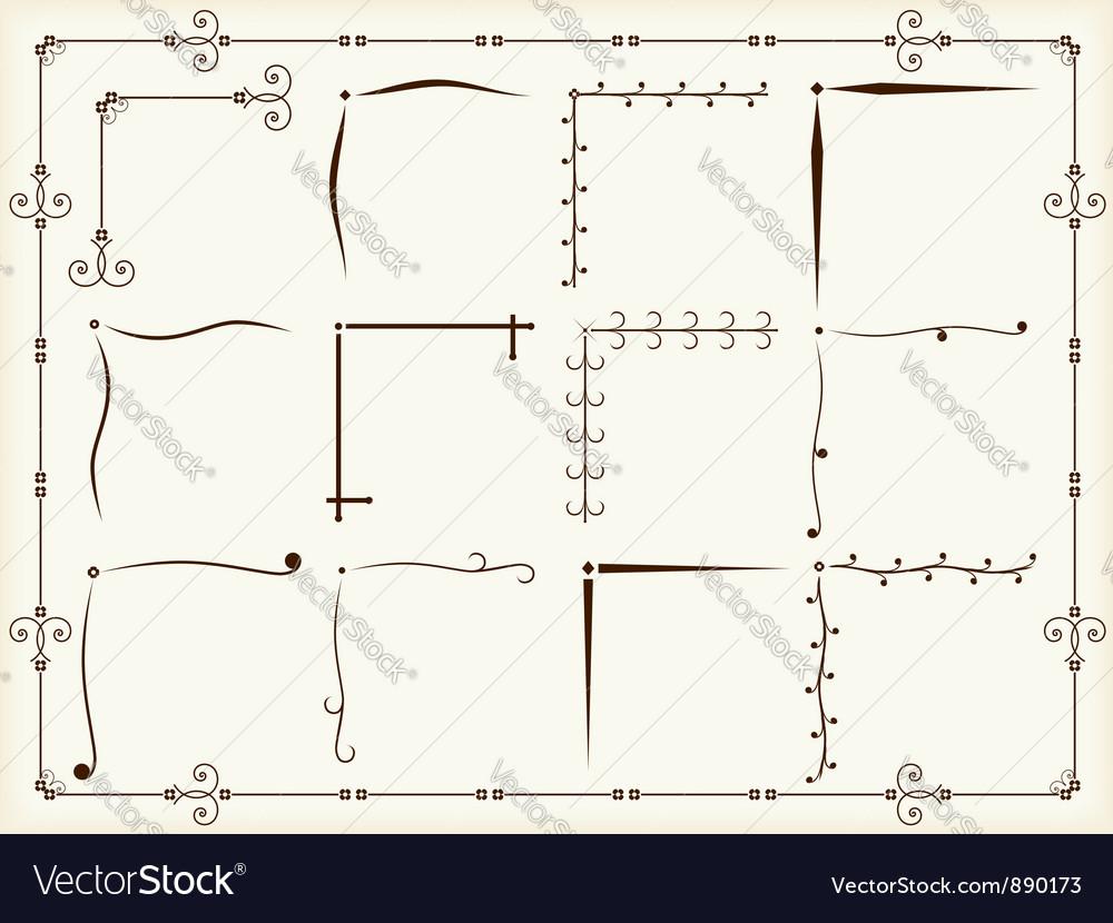Vintage corner design elements vector image