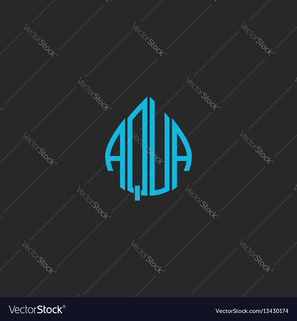 Aqua logo idea word lettering mockup sticker blue vector image