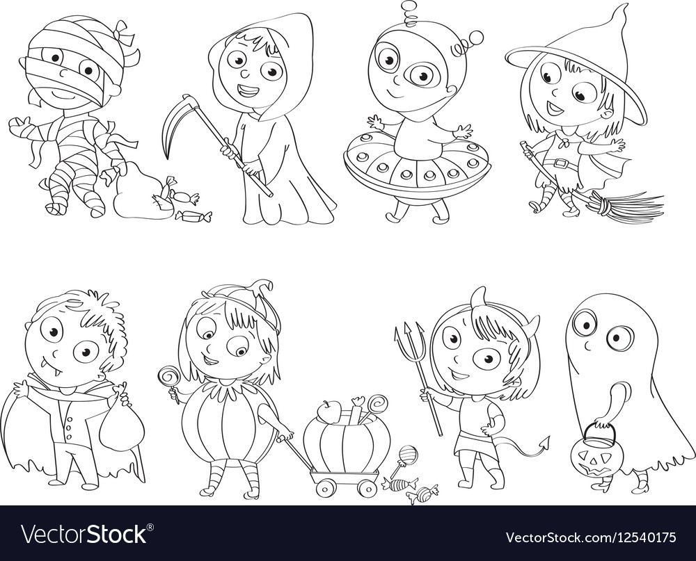Happy Halloween Coloring Book Vector Image
