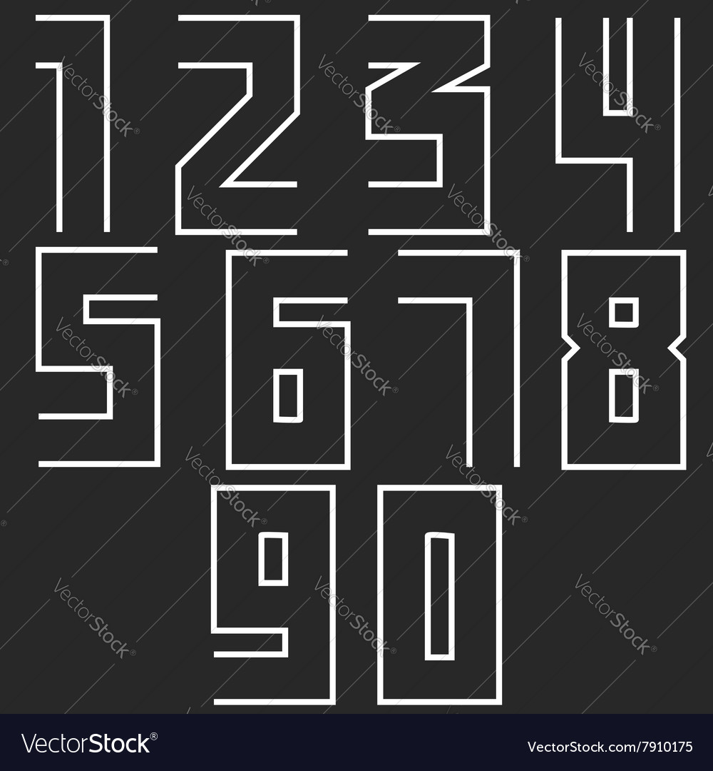Monogram numbers hipster set modern numerals thin vector image