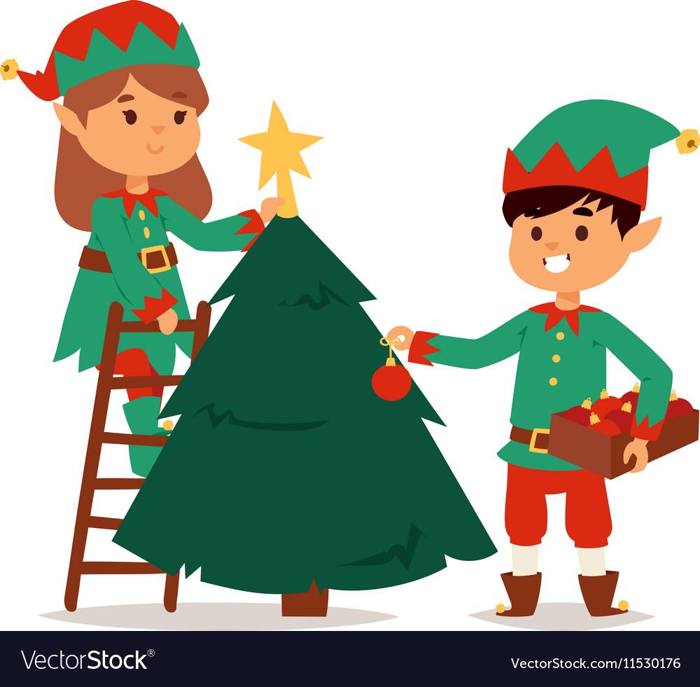 santa claus kids cartoon elf helpers royalty free vector