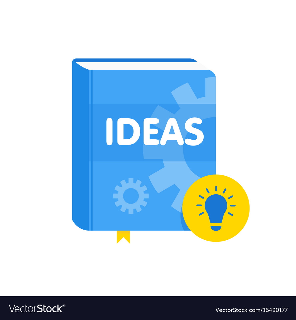 Ideas book with lightbulb flat icon online vector image