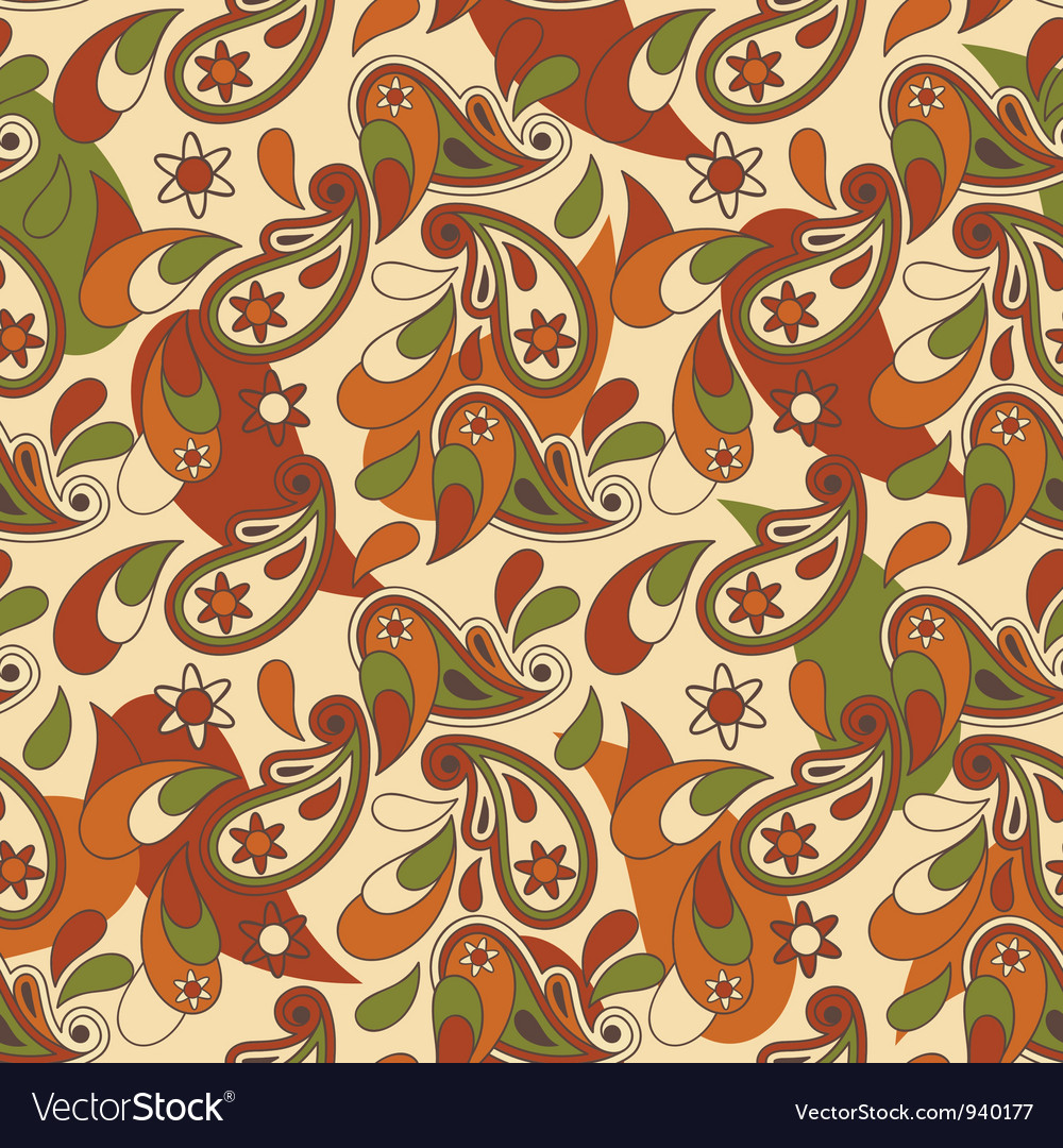 Seamless pailey background vector image