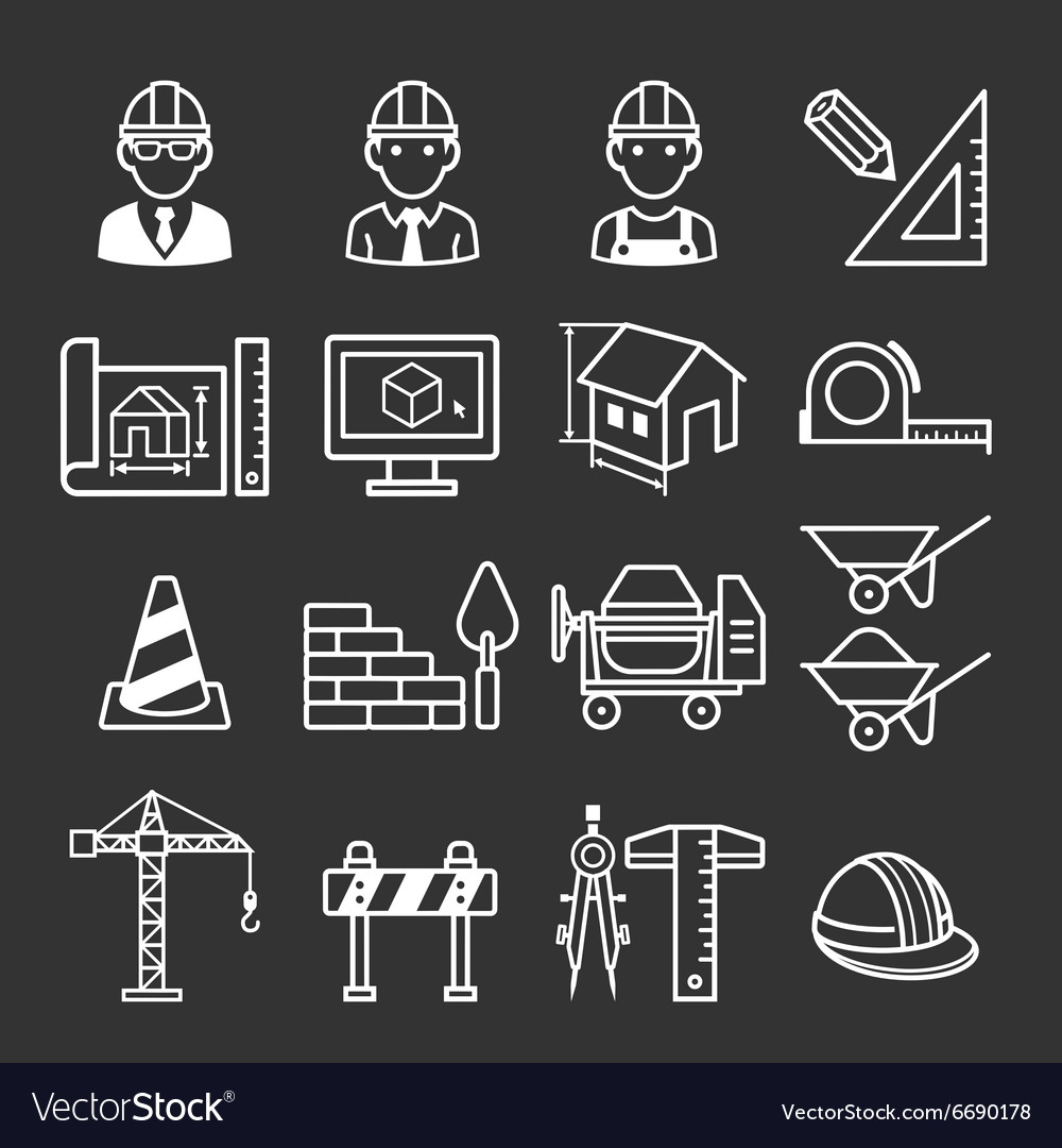 Architecture Construction Building icon set vector image
