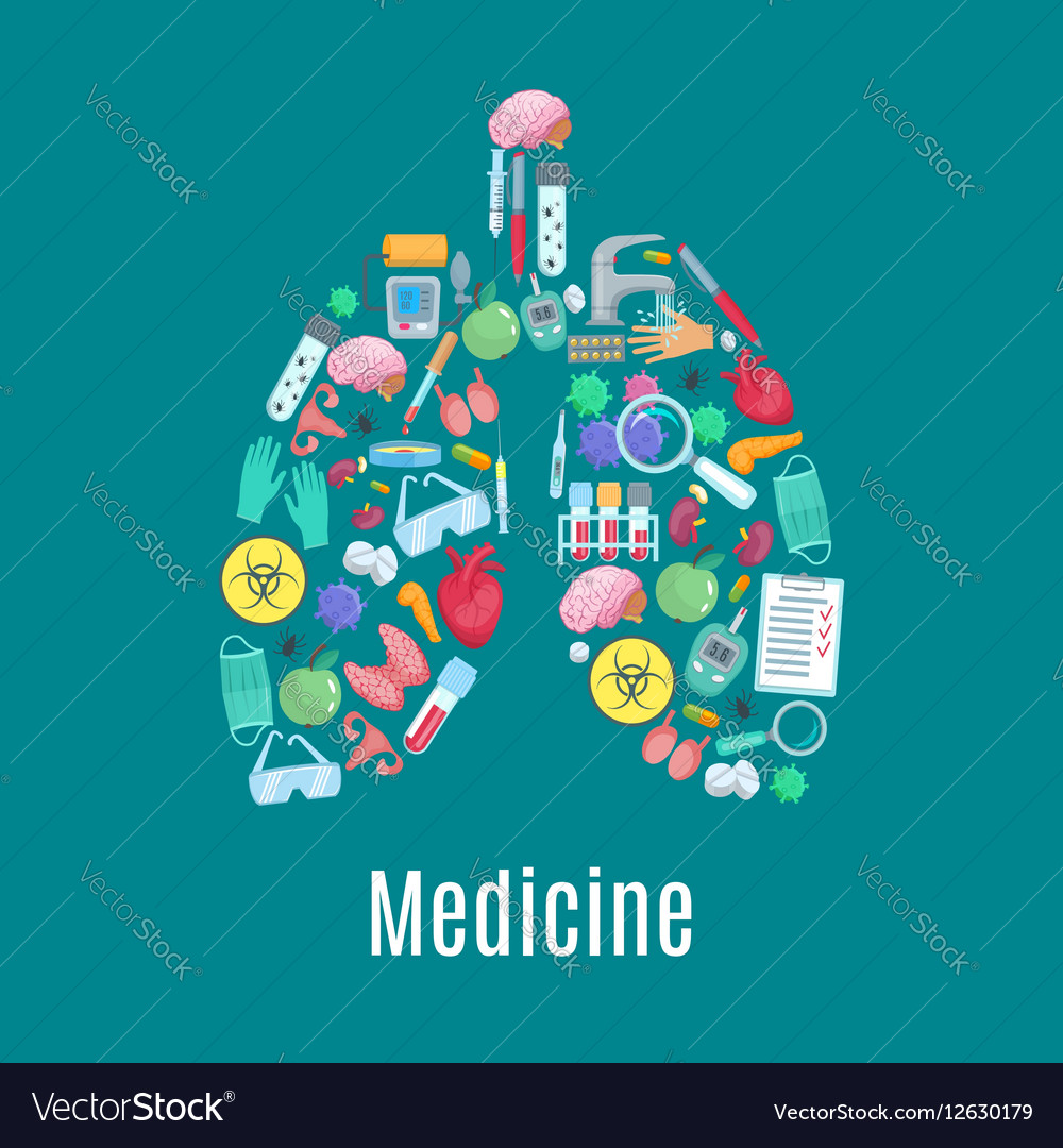Medicine poster in shape of lungs organ vector image