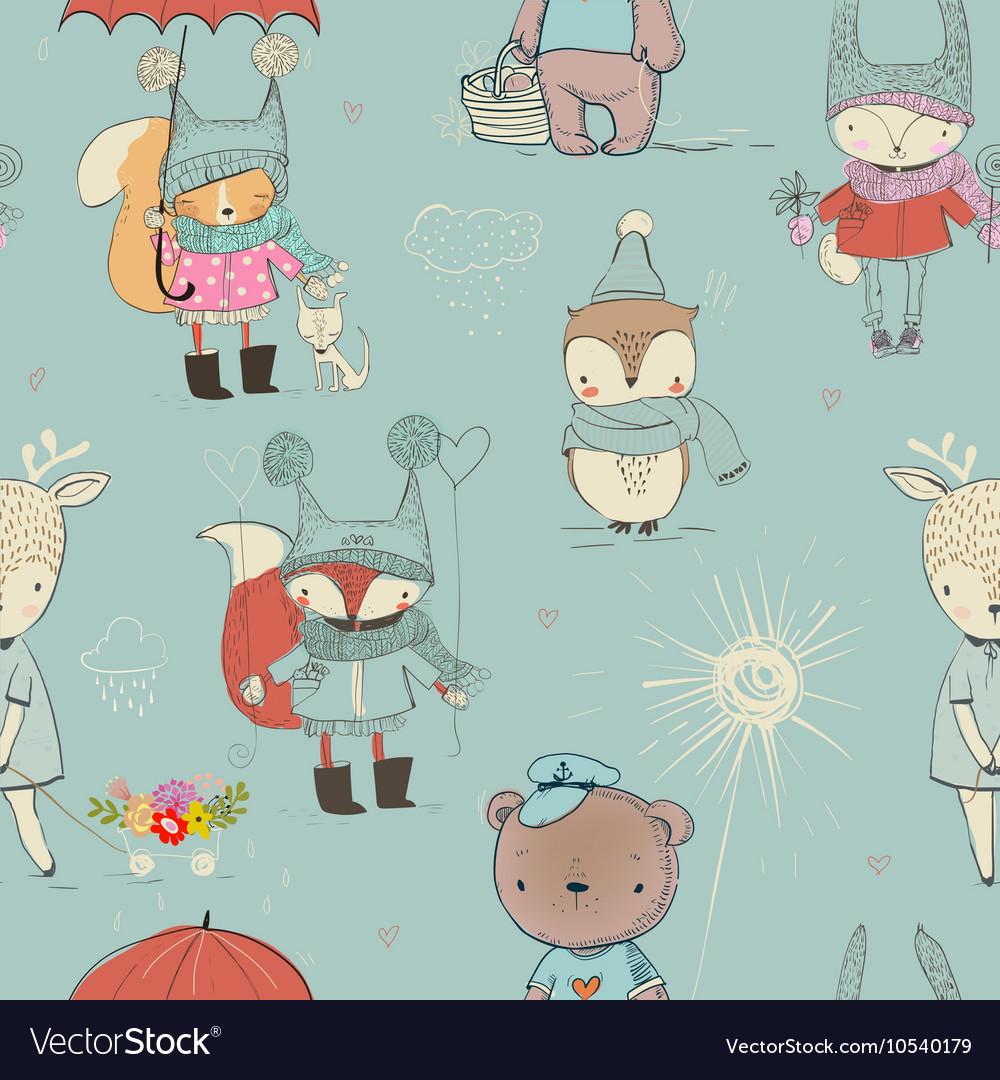 Seamless pattern with cute animals vector image