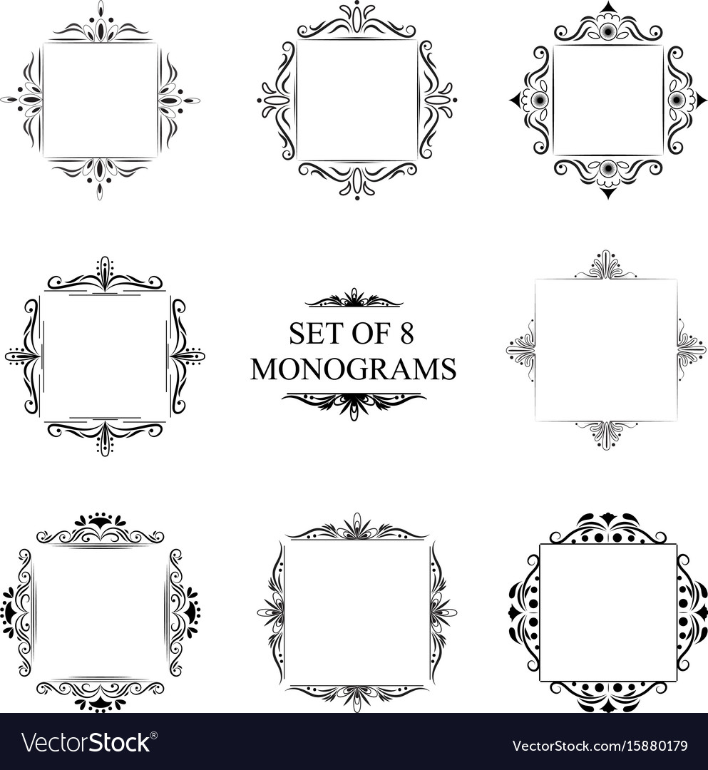 Set of eight decorative vintage monograms vector image