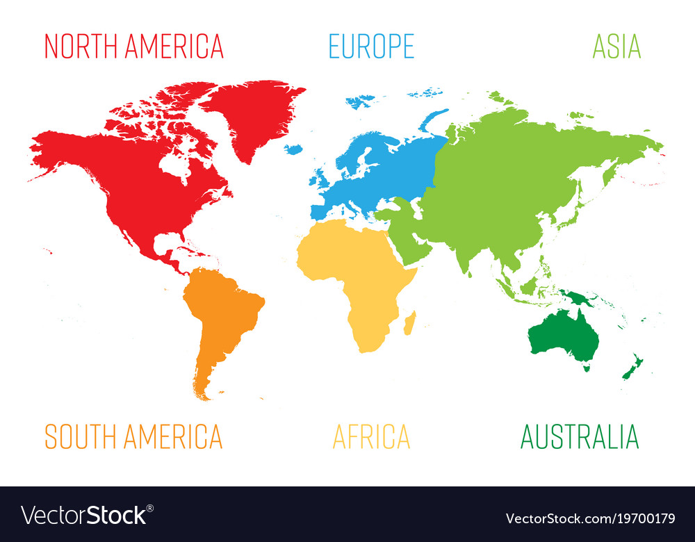 World map divided into six continents each vector image gumiabroncs Image collections