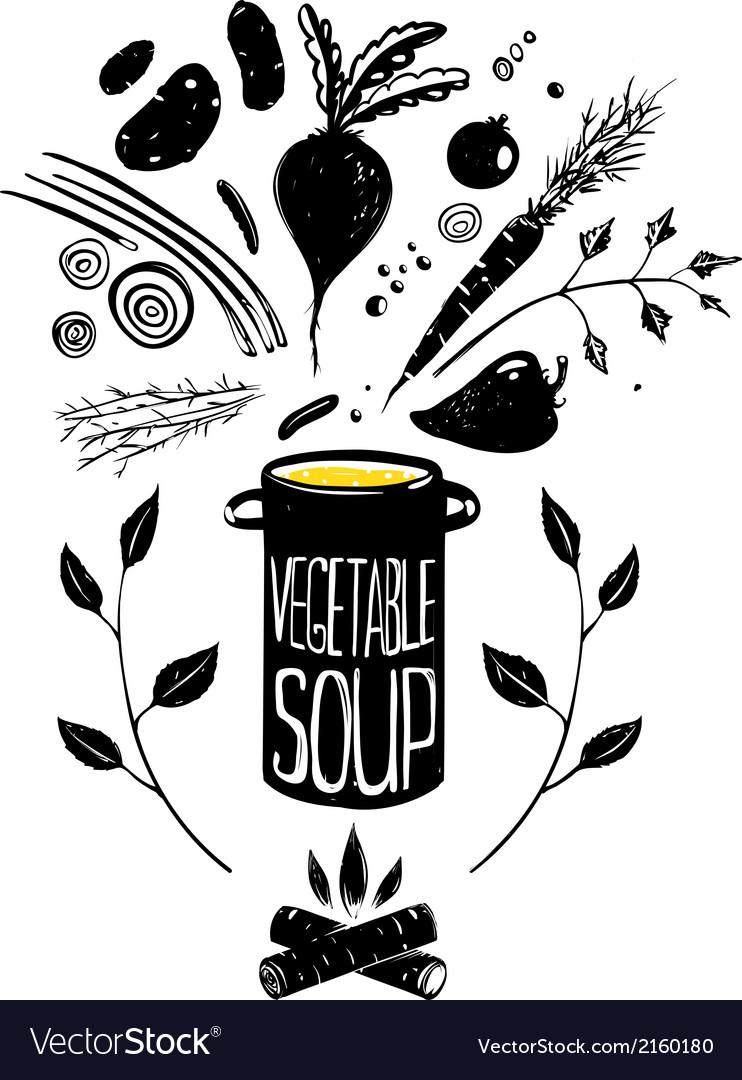 Cooking Vegetable Soup Food in Black vector image
