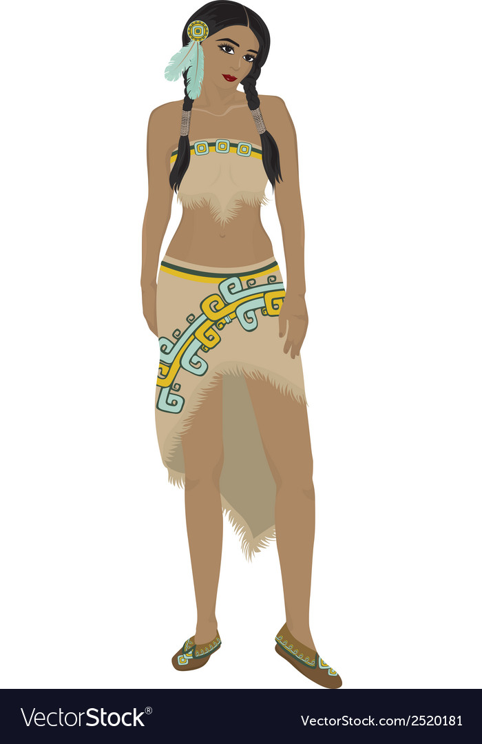 Beautiful Native American Indian girl vector image