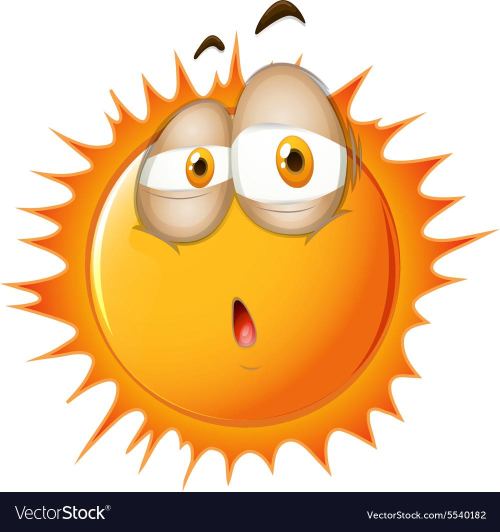 Bright sun with sleepy face vector image