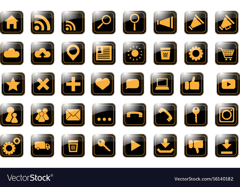 Icon site orange on black vector image