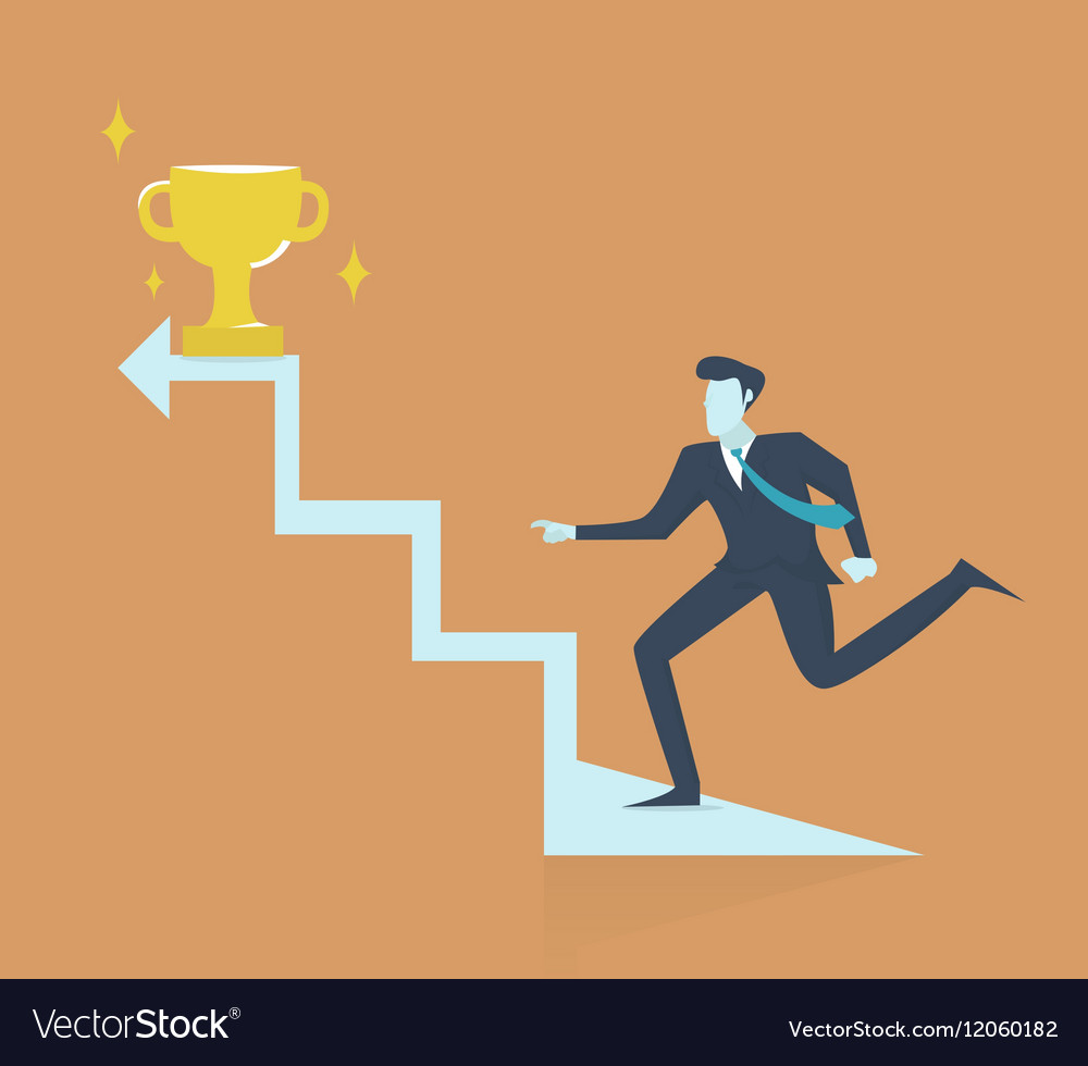 Successful businessman walking up stairs to golden vector image