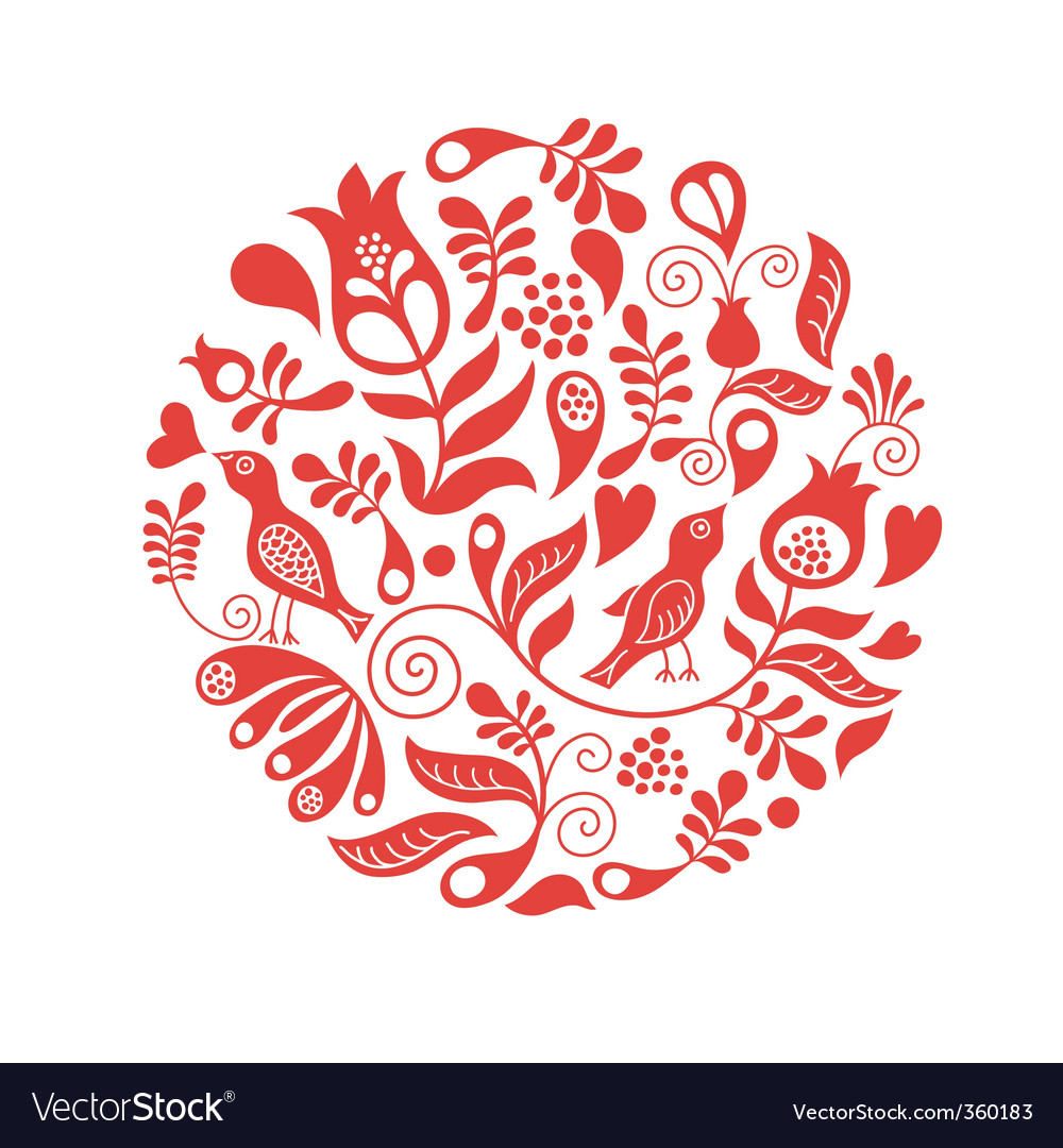Floral round vector image