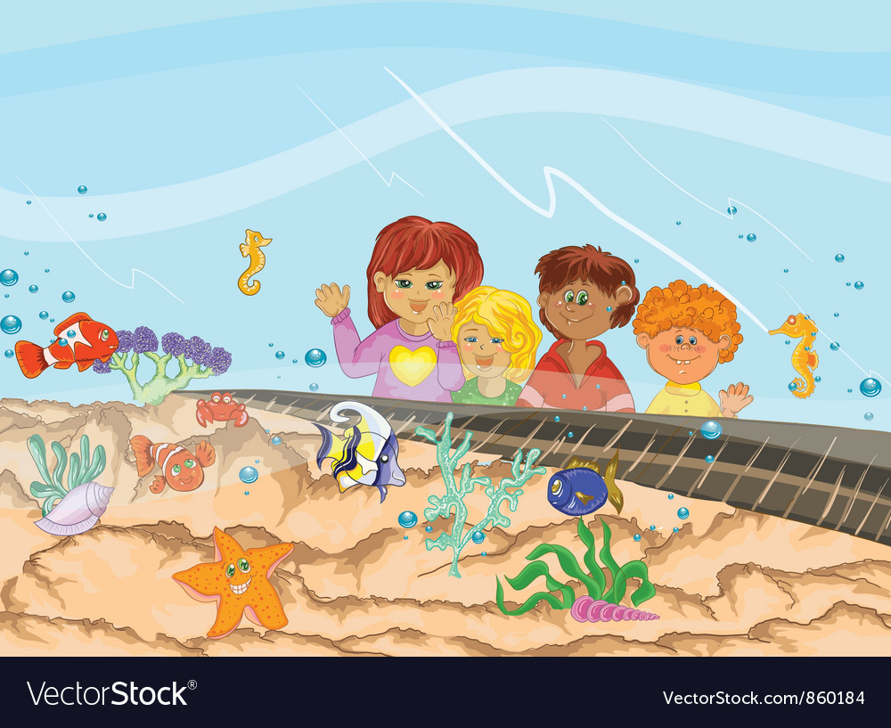 Kids at the aquarium vector image