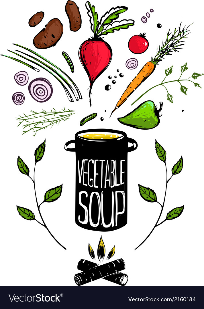 Cooking Vegetable Soup Food vector image