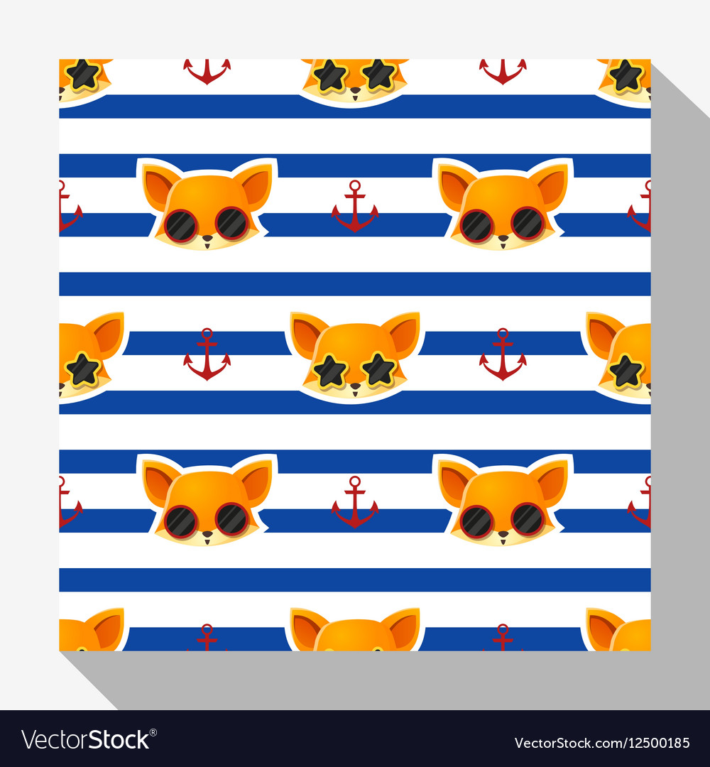 Animal seamless pattern collection with fox 2 vector image