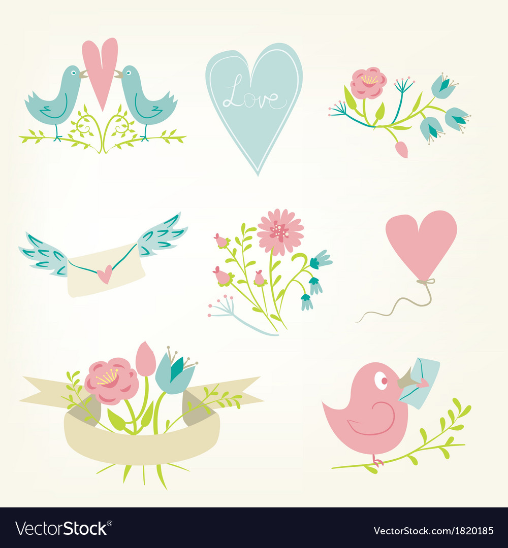 Valentines Day elements set vector image