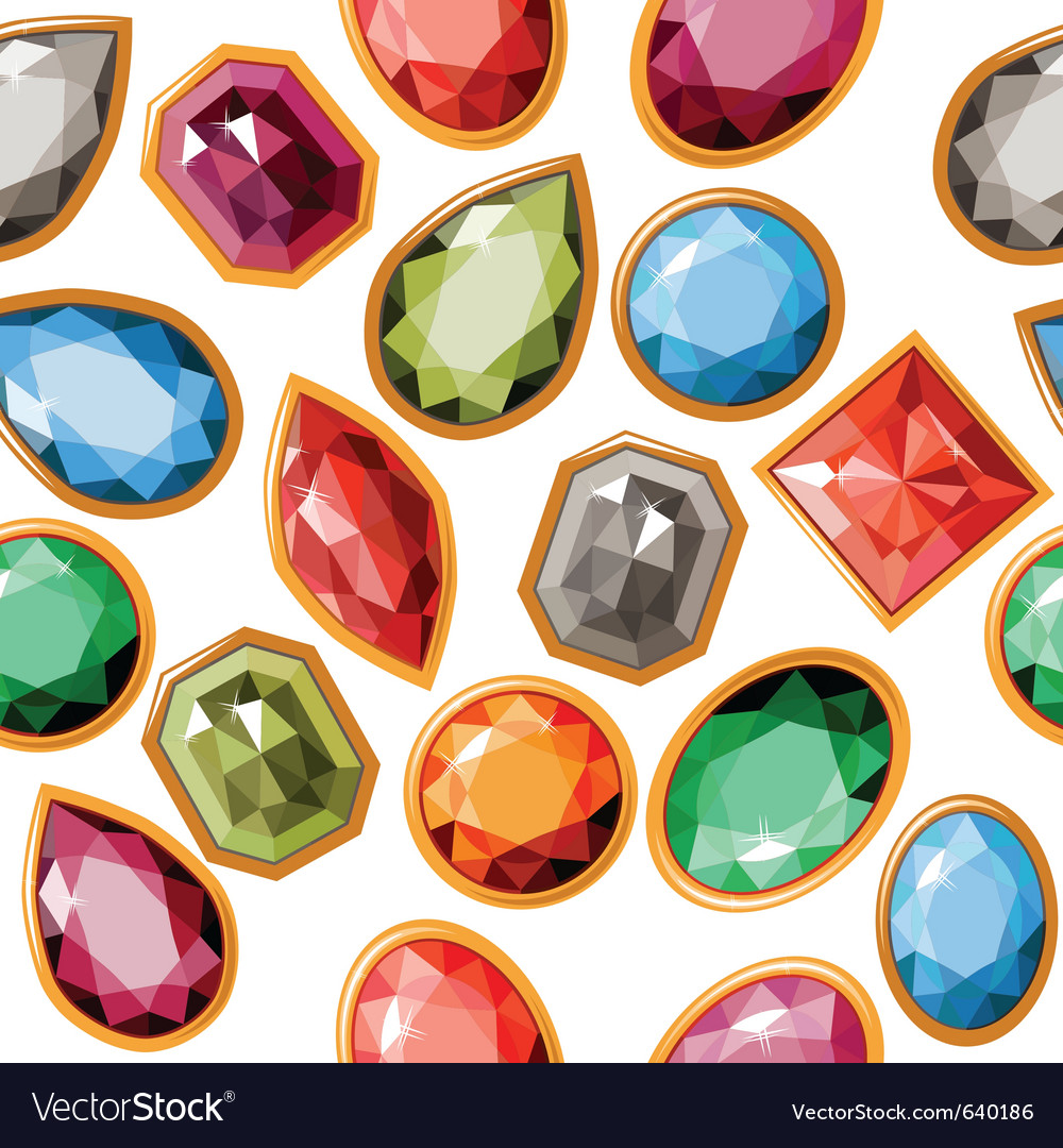 Seamless pattern with jewels vector image