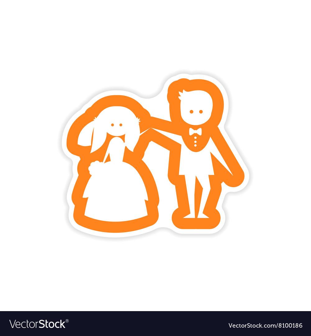 Paper sticker on white background bride groom